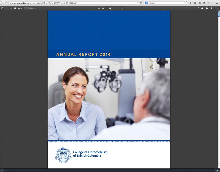 College Optometrists British Columbia Annual Report 2014