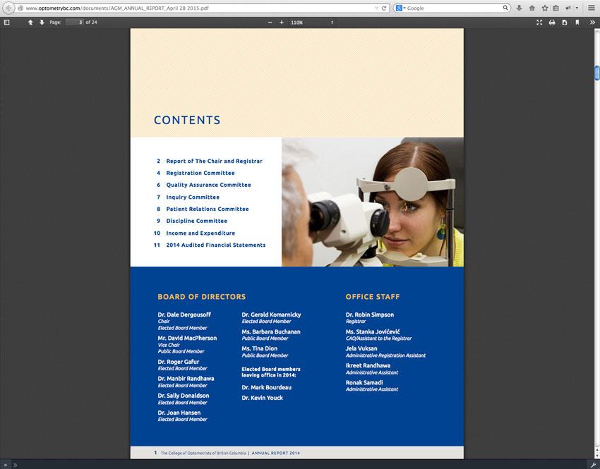 College Optometrists British Columbia Report 2014